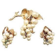 Boucher Faux Pearl Grape Bunch Kinetic Pin & Earrings Set