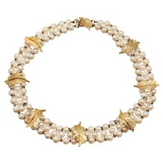 "13.5"" Hattie Carnegie Faux Pearl Leaf Accent 3 Strand Collar Necklace"
