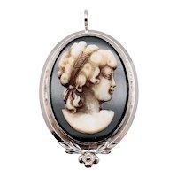 Van Dell Black & White Sterling Silver Cameo Pin Pendant