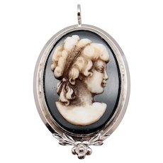 Van Dell Black & White Sterling Silver Cameo Pin Pendant