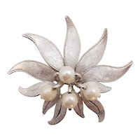 Hayward Cultured Akoya Pearl Sterling Silver Orchid Floral Spray Pin