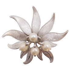 A&Z Hayward Akoya Pearl Sterling Silver Orchid Floral Spray Pin