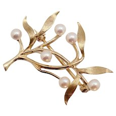 Fisher & Co Akoya Pearl 14K Gold Willow Branch Pin