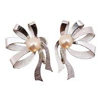 Hayward Cultured Akoya Pearl Sterling Silver Ribbon Non-pierced Earrings