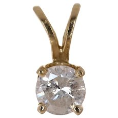 Diamond 1/4 ct Solitaire 14K Gold Pendant I3 I/J