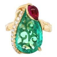 8.51 Ct Colombian Emerald 18 Karat Gold Diamond Cocktail Ring