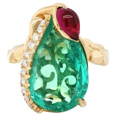 8.51 Ct Colombian Emerald 18 Karat Gold Diamond Cocktail Ring