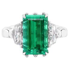 4.9 Carat No-Oil Russian Emerald 18 Karat Gold Diamond Cocktail Fashion Ring
