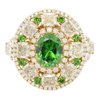Russian Demantoid 18 K Yellow Gold White Diamond Cocktail Ring