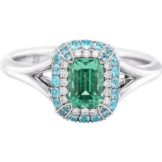 No-Oil Russian Emerald Paraiba 18 Karat Gold Diamond Ring
