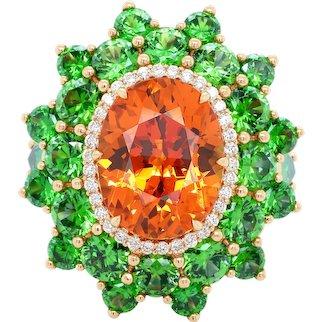 7.64 Carat Spessartine Demantoid Diamond 18 Karat Gold Cocktail Fashion Ring