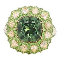 5.82 Carat Russian Demantoid Yellow Diamond 18 Karat Gold Fashion Cocktail Ring
