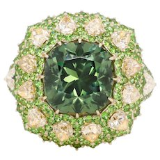 5.82 Carat Russian Demantoid Yellow Diamond 18 Karat Gold Fashion Cocktail Ring