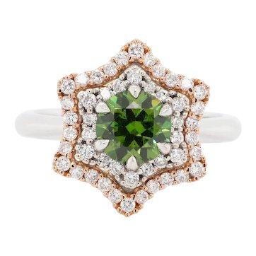 1.19 Carat Demantoid 18 Karat Gold Diamond Engagement Fashion Cocktail Ring