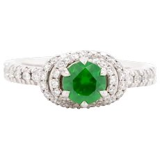 Russian Demantoid 18 Karat Gold Diamond Engagement Wedding Fashion Ring