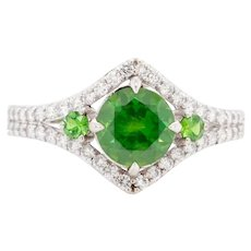 1.19 Carat Russian Demantoid 18 Karat Gold Diamond Engagement Fashion Ring