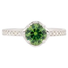 1.14 Carat Russian Demantoid 14 Karat White Gold Diamond Engagement Wedding Ring