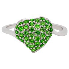 14 Karat Gold Heart Ring with Russian Demantoid