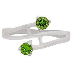 Russian Green Demantoid Garnet 14 Karat Gold Ring