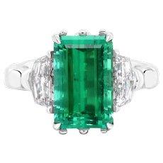 4.9 Carat No-Oil Russian Emerald 18 Karat Gold Diamond Cocktail Fashion Ring