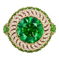 5.82 Carat Russian Demantoid Diamond 18 Karat Gold Cocktail Ring