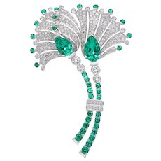 Fan-Shaped Floral Emerald and Diamond Brooch in 18 Karat Gold GIA Certified
