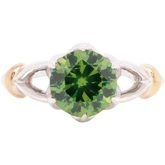 2.02 Carat Russian Demantoid 14 Karat White Gold Engagement Wedding Ring