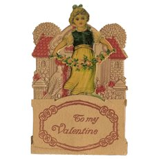 Victorian style, embossed, Pop Out Valentine Card girl with flowers