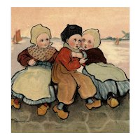 Artist signed undivided back Parkinson postcard of Dutch children