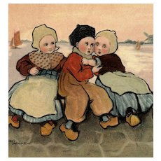 Artist signed undivided back Parkinson postcard of Dutch children