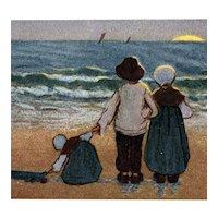 Artist signed Barham postcard of children illustrating an Alexander Pope quote mailed 1908