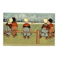Signed unposted Parkinson postcard of Dutch children