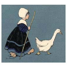 British, artist signed Parkinson postcard of Dutch girl herding goose with 1911 King Edward VII stamp