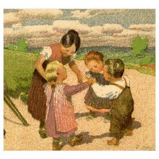Unposted, artist signed Paul Hey postcard of children/family with organ grinder