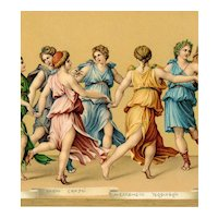 Unposted, Italian, Stengel & Co, art postcard of Romano's Il Ballo D'Apollo Con Le Muse