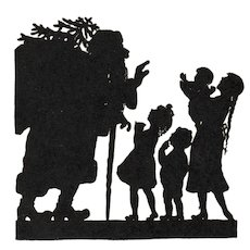 German Christmas postcard with silhouette of Santa Claus with Children