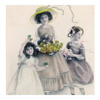 French, M M Vienne Happy New years postcard of girls with flowers