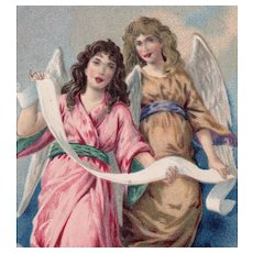 Unposted Happy New Year card with angels printed in Germany