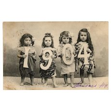 Undivided back, real photo, Bergeret, New Year's 1904 postcard of Bohemian children