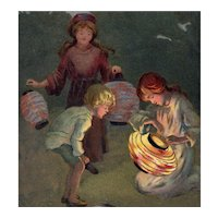 Unposted, artist signed Barham postcard of children lighting lanterns