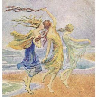 Unposted, artist signed Barham postcard illustrating line from Shakespeare's Tempest