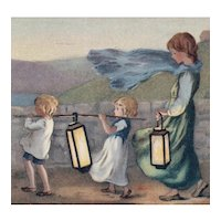 Unposted, artist signed Barham postcard of children carrying lanterns
