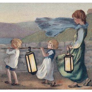 Unposted, artist signed Barham postcard of children carrying lanterns