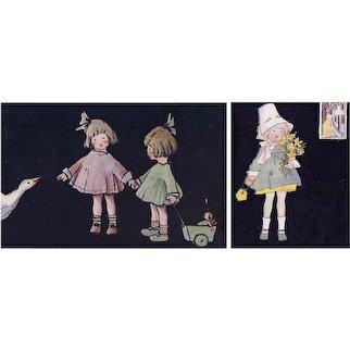 Two unposted, British, artist signed Edgerton Postcards children/nursery rhymes