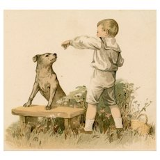 Unposted, undivided back antique postcard of boy and his dog