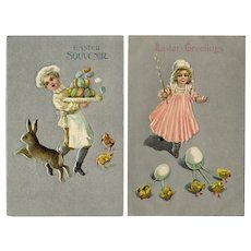 Silver pair of Easter postcards with child, eggs, chicks and a bunny