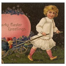 Antique, German unposted, embossed postcard of little girl, rooster and pink egg