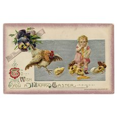 Antique, embossed, Art Nouveau style Easter postcard of girl and chicks posted 1912
