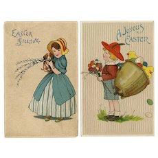 Pair of embossed Easter postcards of children printed in Germany