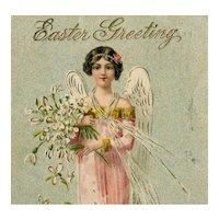 German, gilded, Easter angel postcard posted 1908